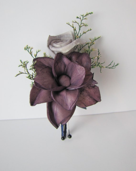 Magnolia Boutonniere - purple boutonniere - eggplant purple boutonniere - pin on boutonniere - purple lapel - purple button hole - keepsake