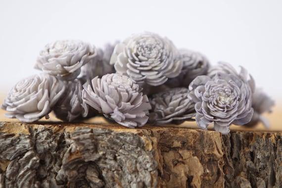 Grey Mini Chorki Flowers - Set of 15 , gray mini chorki sola flowers, sola flowers, balsa wood flowers, balsa wood sola flowers