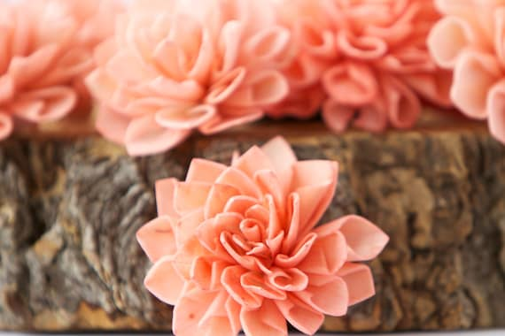Coral Dahlia Sola Flowers - Set of 10, Folded Sola FLowers, Sola Flowers, Sola Flower, Wood Sola Flowers, Balsa Wood FLowers, Craft Flowers