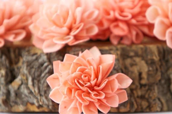 Coral Dahlia Sola Flowers - Set of 10, Folded Sola FLowers, Sola Flowers, Sola Flower, Wood Sola Flowers, Balsa Wood FLowers, Craft Flowers