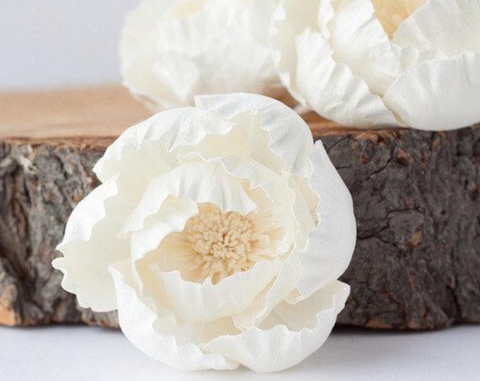 Peony Sola Flowers - Set of 5 , Sola Flowers, Wood Sola Flowers, Balsa Wood Flowers, Craft Flowers, sola wood flowers