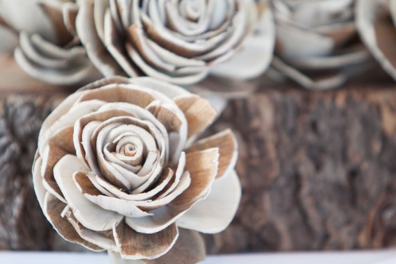 Two Toned Belly Sola Flowers - SET OF 10 , Sola Flowers, Wood Sola Flowers, Balsa Wood Flowers