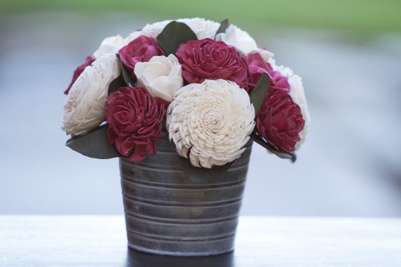 Red and White Tin Floral Arrangement - Keepsake Flowers