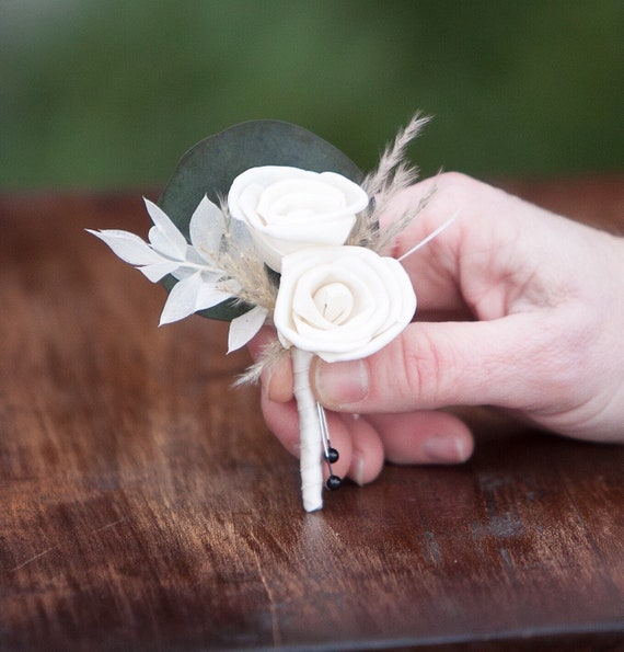 Men's Mini Rose Sola Flower Boutonniere