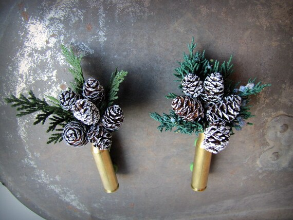 Frosted Pinecone Bullet Casing Boutonniere - Bullet Shell Boutonniere