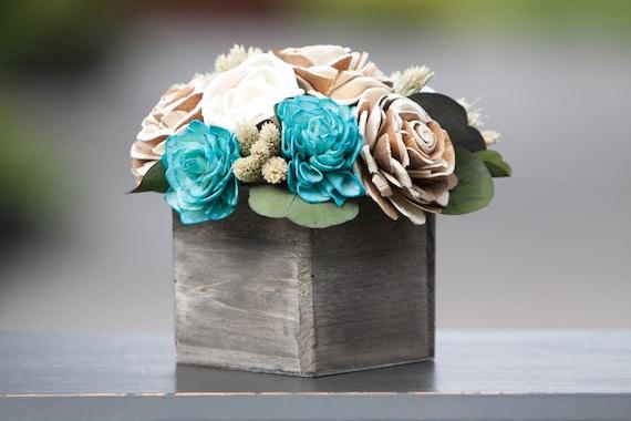 Teal Keepsake Sola Flower Arrangement - Teal Sola Floral Centerpiece