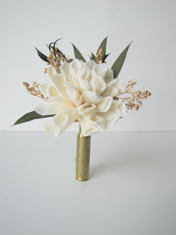 Ivory and Gold Bullet Casing Boutonniere - Gold Bullet Shell Boutonniere - Casing Boutonniere