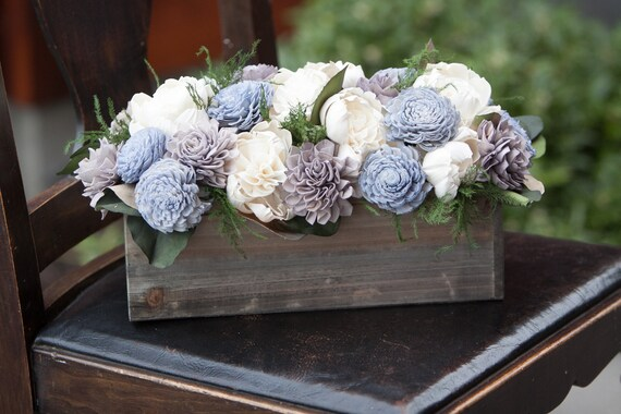 Grey and Steel Blue Rectangular Sola Flower Arrangement