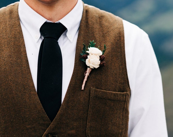 Miniature Sola Flower and Pinecone Boutonniere, Rustic Wedding Woodland Boutonniere