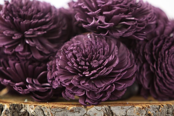 Eggplant Large Chorki Sola Flowers - Set of 10, Eggplant Sola Flowers, Chorki Sola Flowers, Sola Flower, Wood Sola Flowers, Keepsake flowers