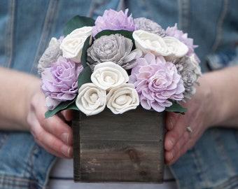 Lavender, Grey and Ivory Sola Flower Arrangement