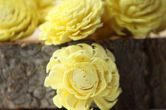 Lemon Yellow Chorki Sola Flowers - SET OF 10 , Chorki, Sola, Wood Sola Flowers, Chorki Sola, Balsa Wood Flowers, Wedding DIY, Craft Flowers