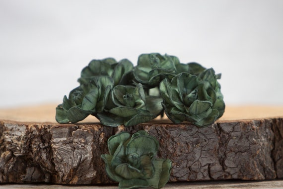 Dark Green Sola Magnolia Flowers- SET OF 10