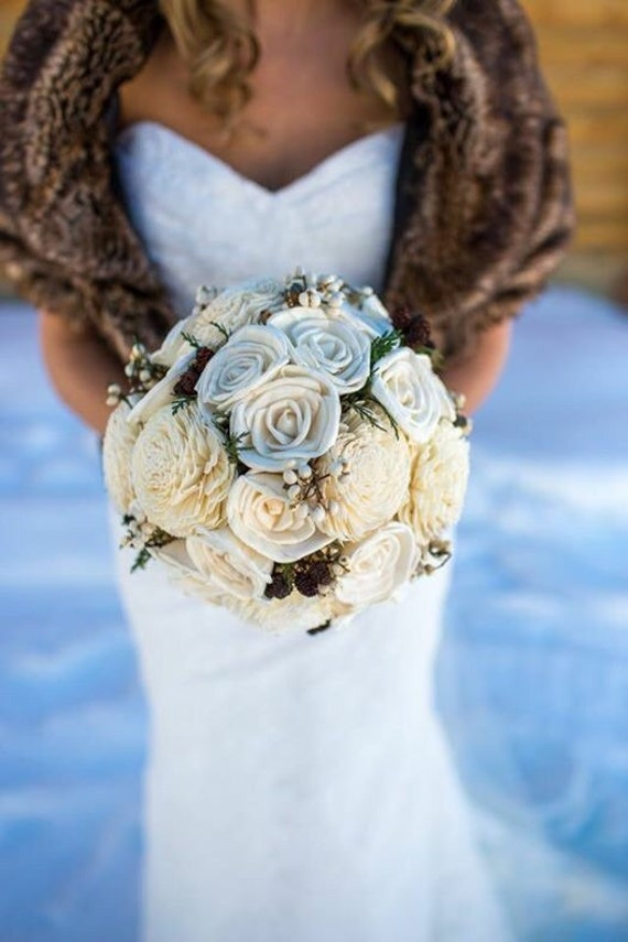 Winter Bridal Bouquet, Rustic Bridal Bouquet, Woodland Pinecone Keepsake Bouquet for Bride