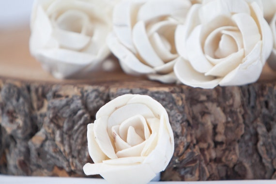 Folded Rose Sola Flowers - SET OF 10 , Sola Flowers, Wood Sola Flowers, Balsa Wood Flowers