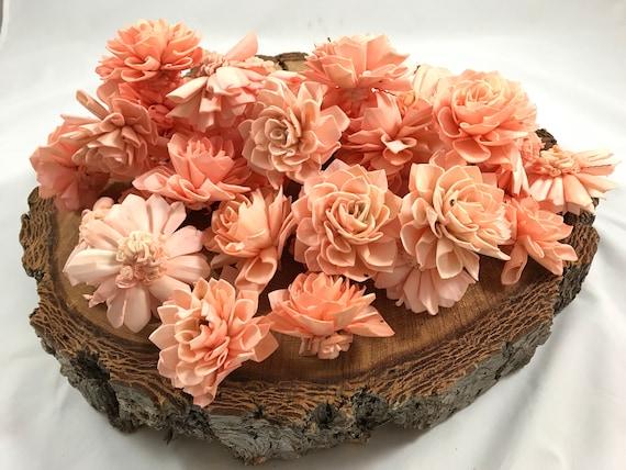 Peach Grade B Dahlia Sola Flowers - Set of 35 Folded Sola FLowers, Sola Flowers, Balsa Wood Flowers, Craft Flowers