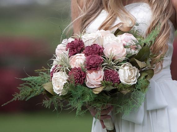 Large Burgundy and Blush Pink Sola Flower Bridal Bouquet - Keepsake Boho Bridal Bouquet With Faux Succulents