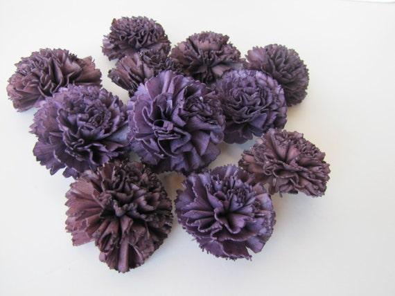 Eggplant Carnation Sola Flowers - SET OF 10 , Sola Flowers, Wood Sola Flowers, Carnation Sola, Balsa Wood Flowers, Craft Flowers, Dar Purple