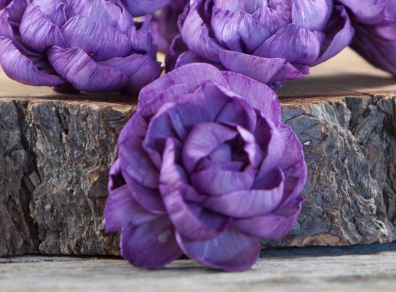 Purple Peony Sola Flowers - Set of 5