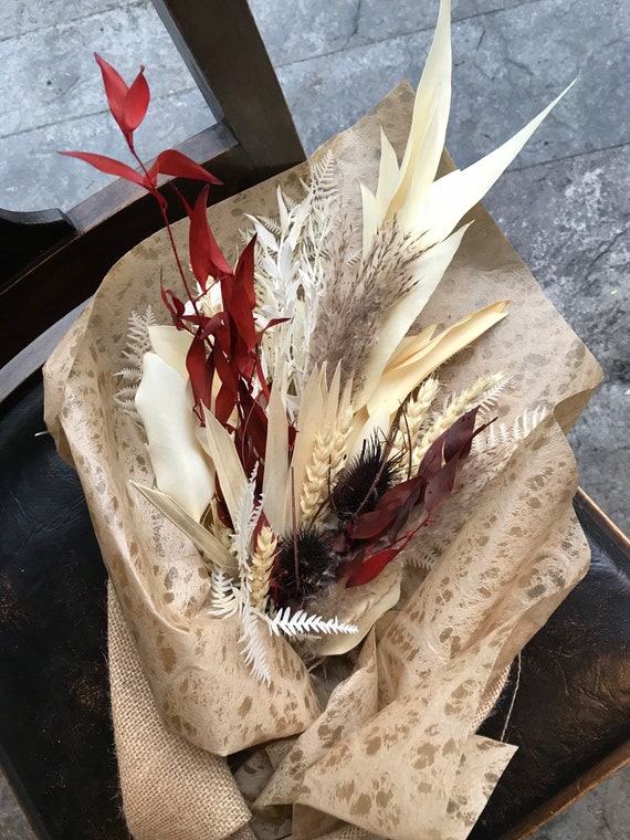 Bleached White , Orange and Brown Fall Dried Flower Bouquet - Dried Flower Vase Arrangement - Wrapped Dried Floral Bouquet