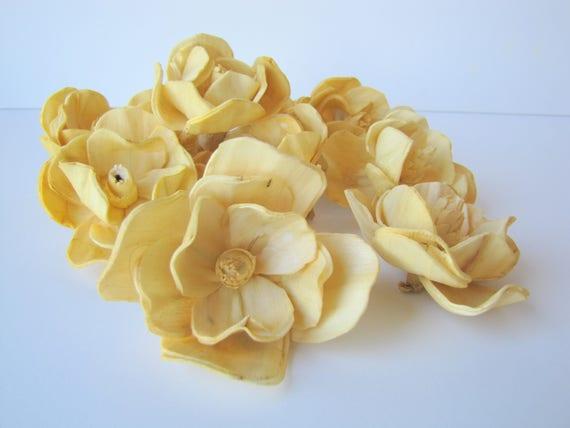 Mustard Yellow Sola Magnolia Flowers- SET OF 10