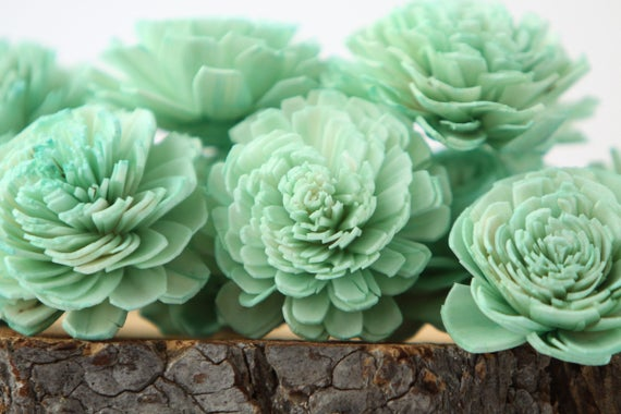 Mint Belly Sola Flowers - SET OF 10 ,Balsa Wood Sola Flowers For Crafts