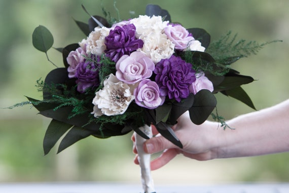 Purple and Ivory Sola Flower Boho Bridal Bouquet - Keepsake Bridal Bouquet