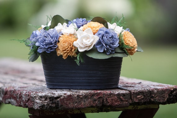 Steele Blue and Mustard Tin Sola Flower Arrangement - Pink Balsa Wood Flower Centerpiece