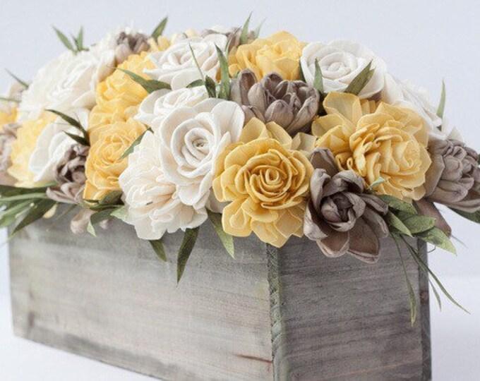 Rectangular Mustard Yellow Keepsake Sola Flower Arrangement - Ships FREE, Sola Flower Arrangement, Flower Centerpiece, Forever flowers