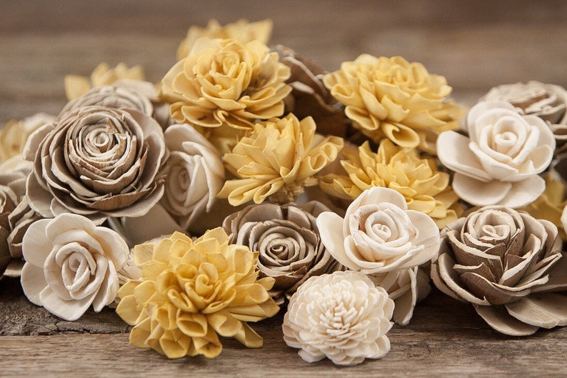 Mustard Yellow Sola Flower Mix Available in sets of 45 and 100