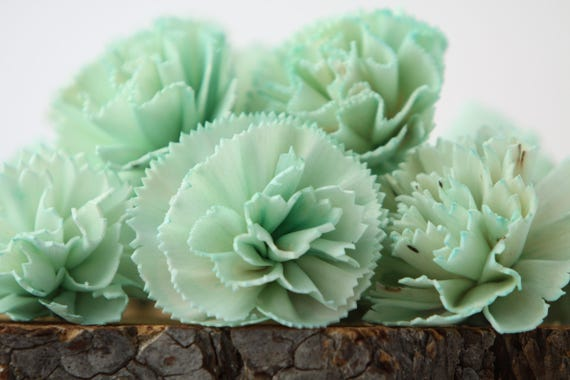 Mint Carnation Sola Flowers - SET OF 10 , Sola Flowers, Wood Sola Flowers, Carnation Sola, Balsa Wood Flowers, Wedding DIY, Craft Flowers