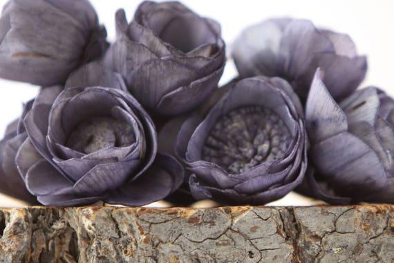 Navy Blue Camellia Sola Flowers- SET OF 10 , Navy Blue Sola Flowers, Balsa Wood Sola Flowers, Camelia Sola, Wedding DIY, craft flowers