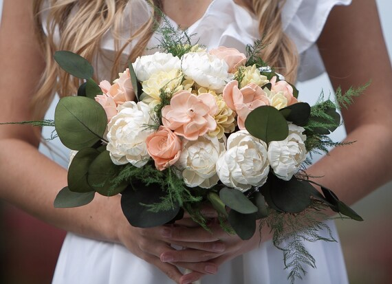 Peach, Yellow and Ivory Boho Bridal Bouquet