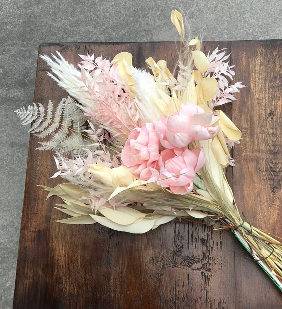 Pink and White Preserved Dried Flower Bouquet - Dried Flower Vase Bouquet - Vase Drop In Arrangement