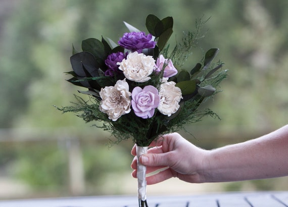 Purple and Ivory Sola Flower Boho Bridesmaid Bouquet - Keepsake Bridesmaid Bouquet