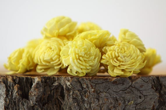 Yellow Mini Chorki Flowers - Set of 15 , lemon yellow mini chorki sola flowers, balsa wood craft flowers