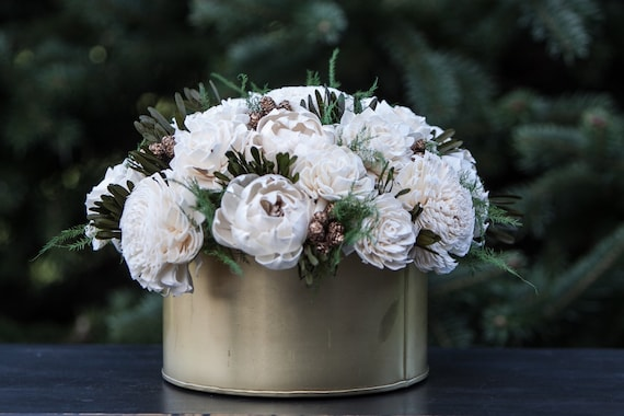 Gold and Ivory Winter Sola Flower Arrangement