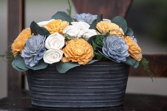 Steele Blue and Mustard Tin Sola Flower Arrangement - Balsa Wood Flower Centerpiece