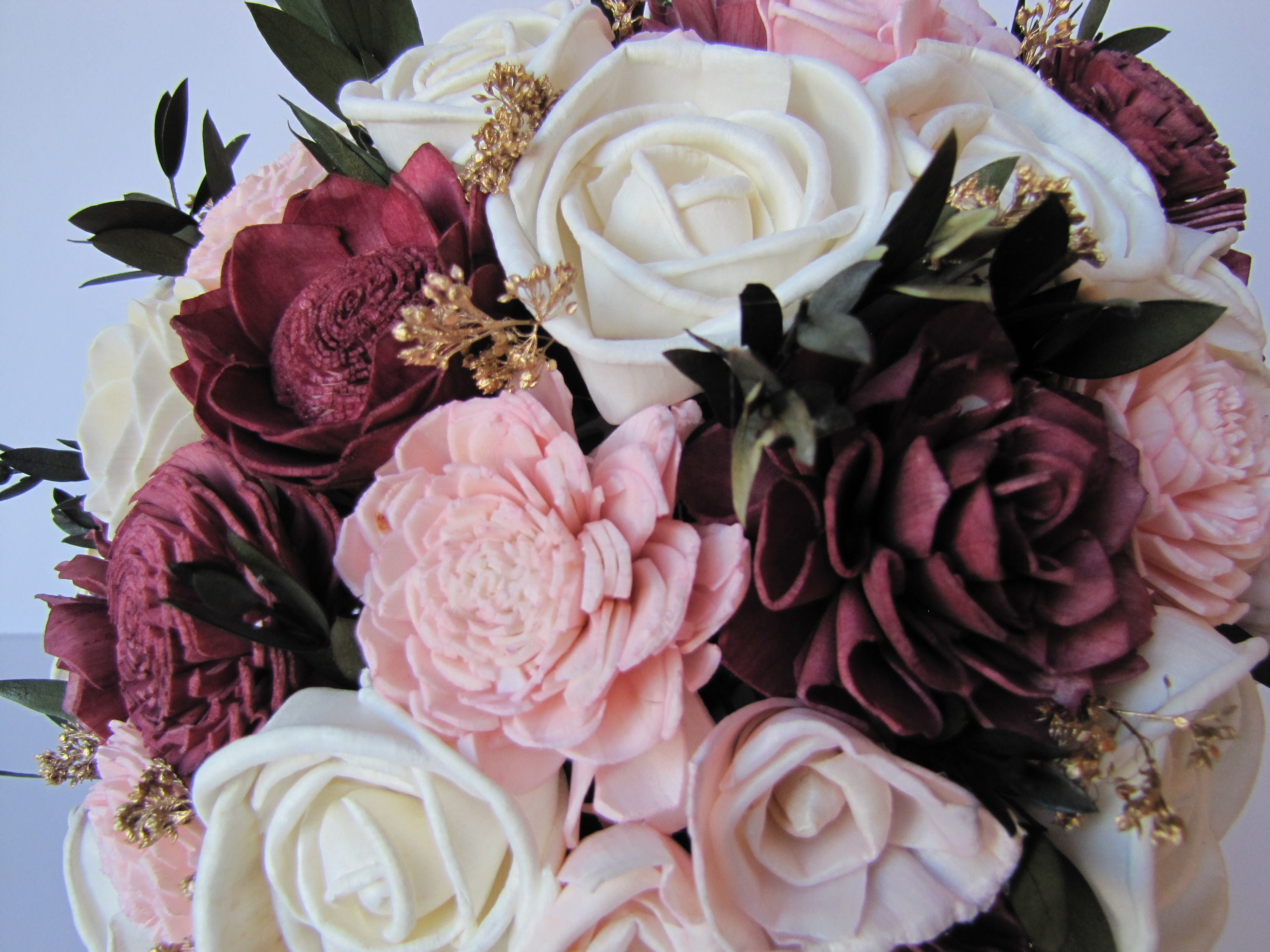 Burgundy and Blush Pink Bridal Bouquet, Keepsake Bridal Bouquet ...