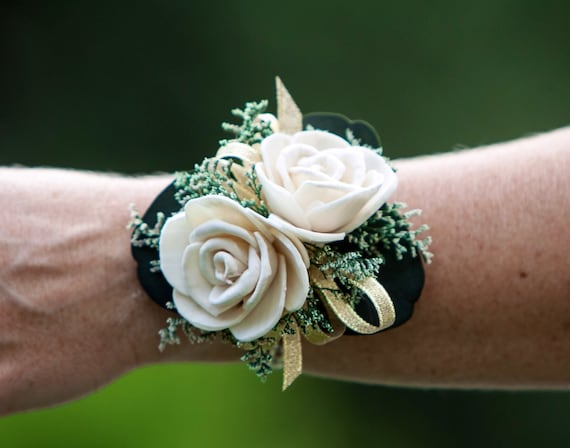 Woman's Pearl and Gold Rhinestone Sola Flower Wrist Corsage - Keepsake Wrist Corsage