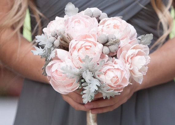 Blush Pink Peony Bridesmaid Bouquet - Keepsake Bouquet