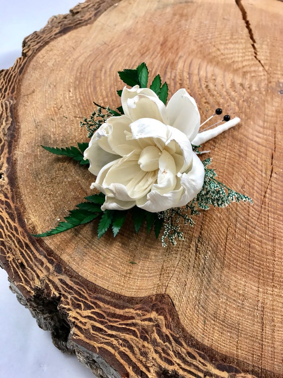 Ivory Poppy Boutonniere, Poppy Wood Sola Flower Boutonniere, Boho Wedding Boutonniere