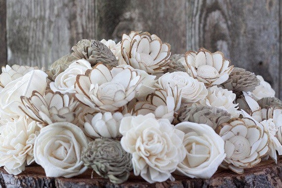 Rustic Ivory Sola Flower Mix - Set of 45 and Set of 100 Sola Wood Flowers