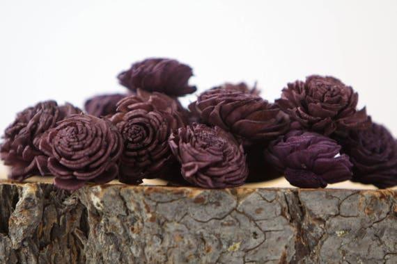 Eggplant Mini Chorki Flowers - Set of 15 , Eggplant mini chorki sola flowers, sola flowers, balsa wood flowers, balsa wood sola flowers