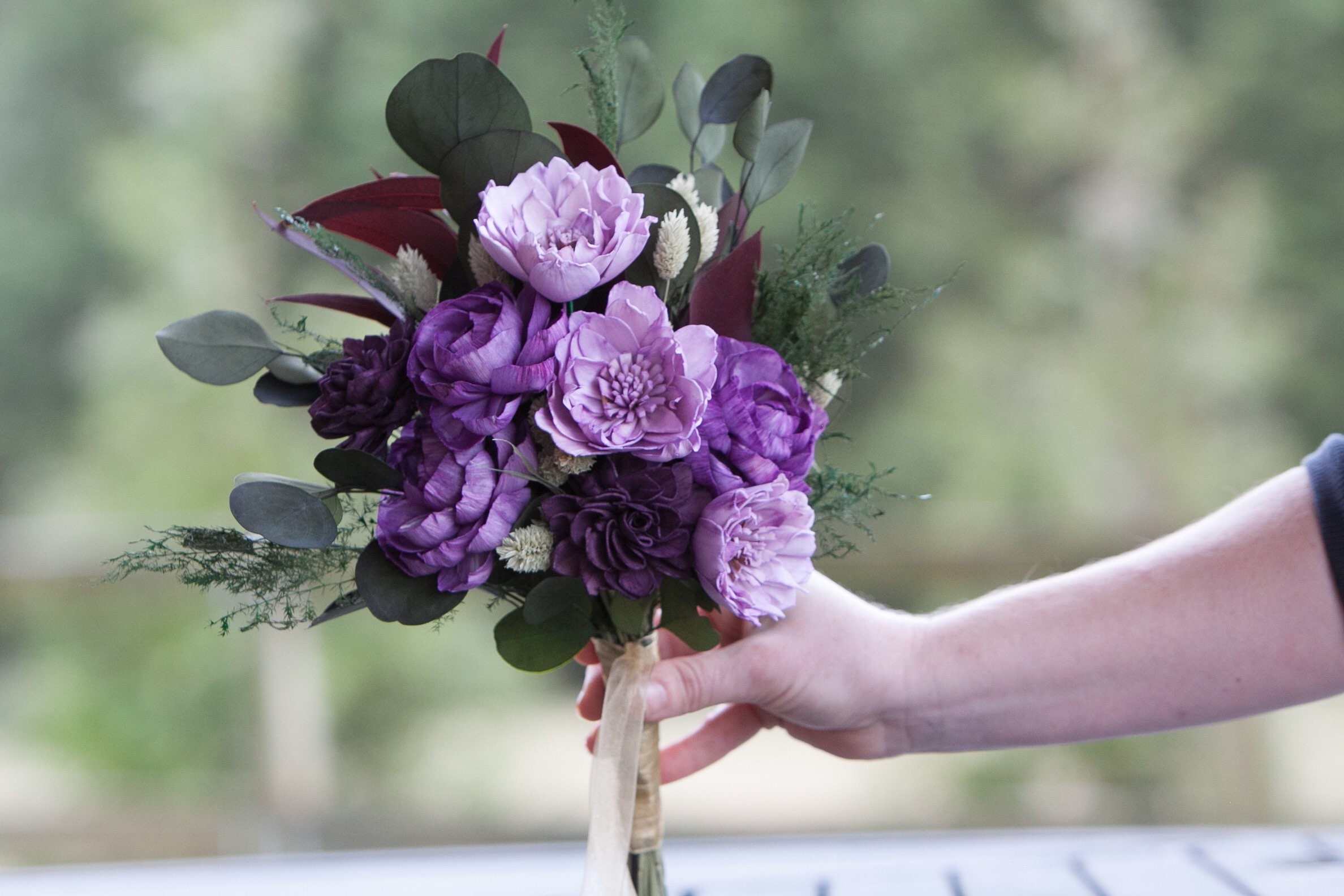 30/% OFF TomorrowCustom Plum Purple Lilac Lavender Sola Flower Bridal Bouquet Keepsake Alternative Style 19