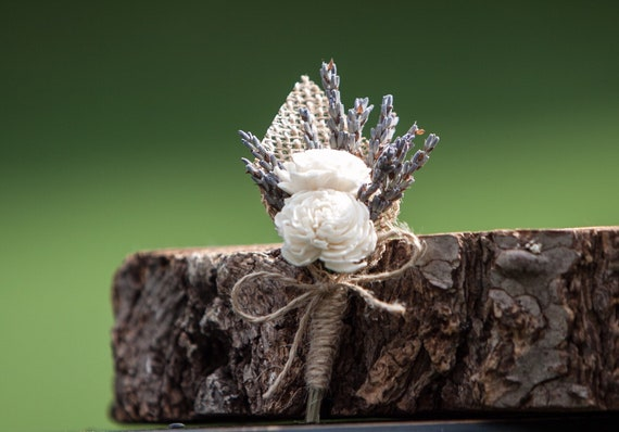 Lavender and White Sola Flower Boutonniere, Dried Lavender and Burlap Wedding Boutonniere