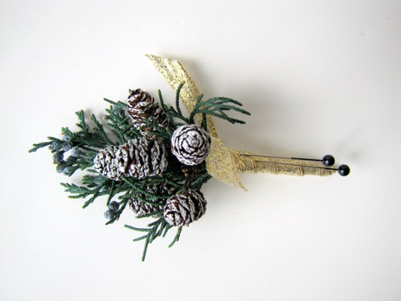 Frosted Pinecone Winter Woodland Boutonniere, Rustic Pin On Boutonniere