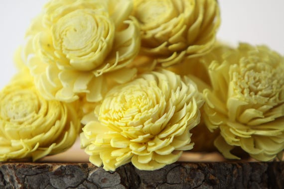 Yellow Large Chorki Sola Flowers - Set of 10, Lemon Yellow Sola Flowers, Chorki Sola Flowers, Sola Flower, Wood Sola Flowers