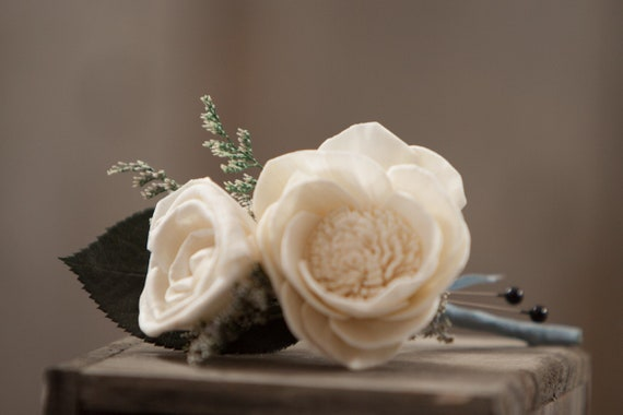 Camellia and Mini Rose Sola Flower Pin On Boutonniere