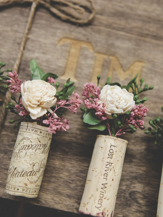 Pink and Ivory Wine Cork Boutonnieres, Winery Theme Boutonniere